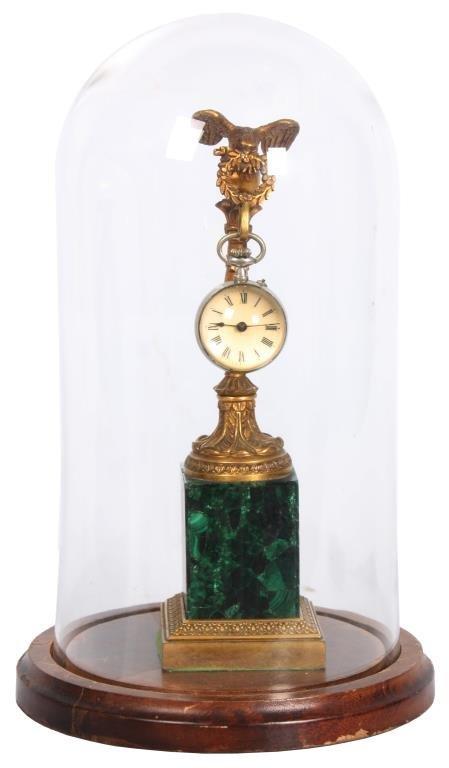 Dore Bronze & Malachite Hanging Ball Timepiece