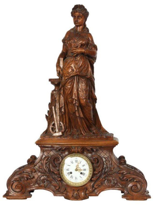 Lg. Figural Carved Black Forest Mantle Clock