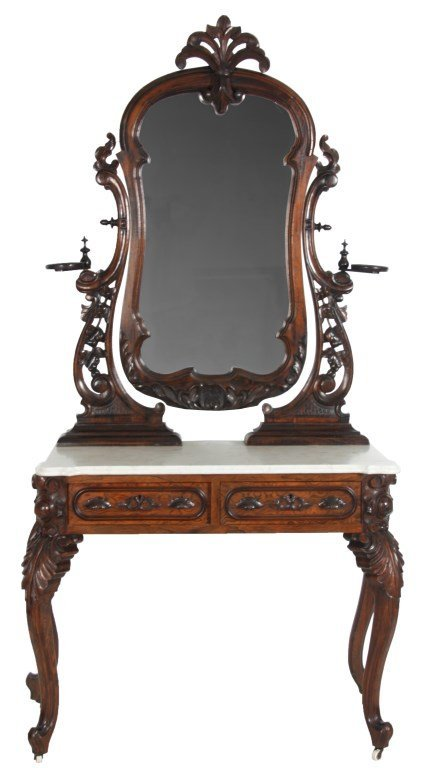 Rococo Rosewood Marble Top Vanity