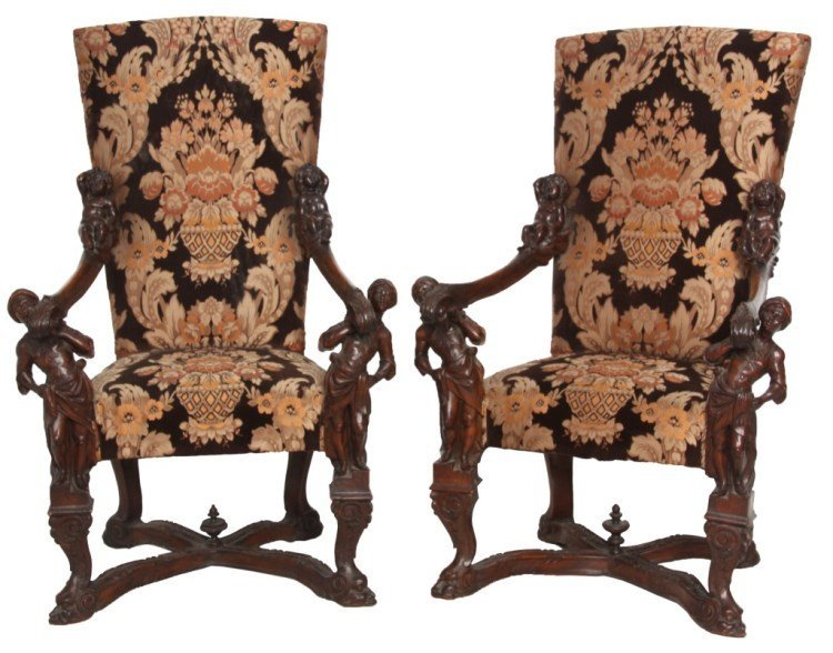 Pr. Figural Blackamore Carved Armchairs