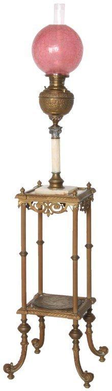Brass & Onyx Piano Floor Lamp