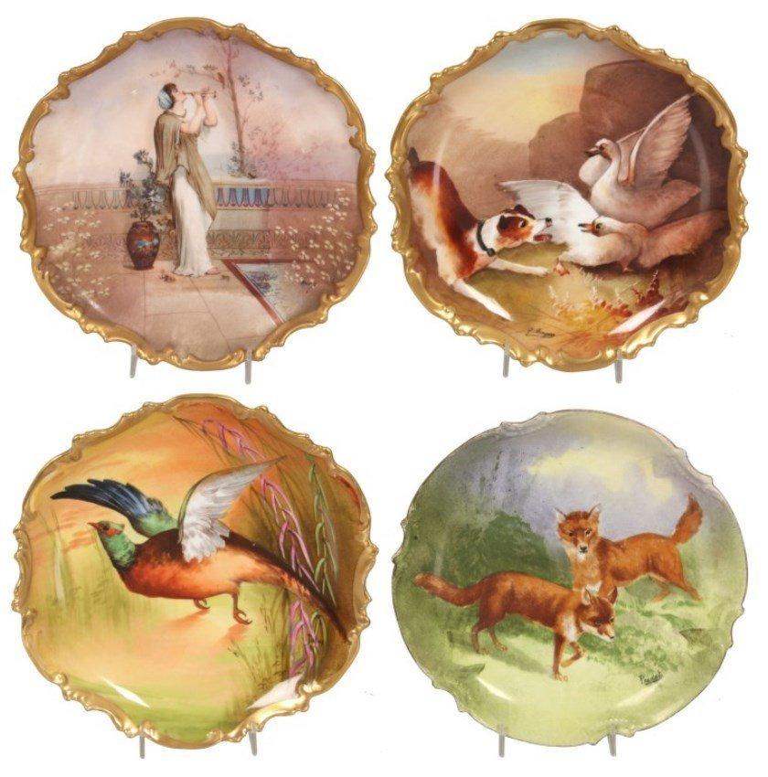 4 Limoges Paint Decorated Plates