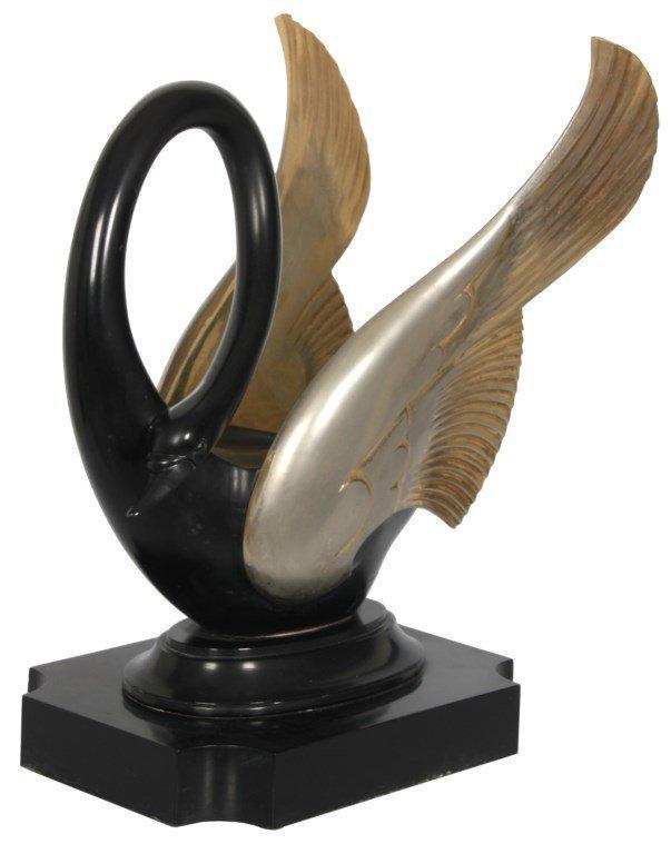 Deco Bronze Figure of a Swan Signed San Sen