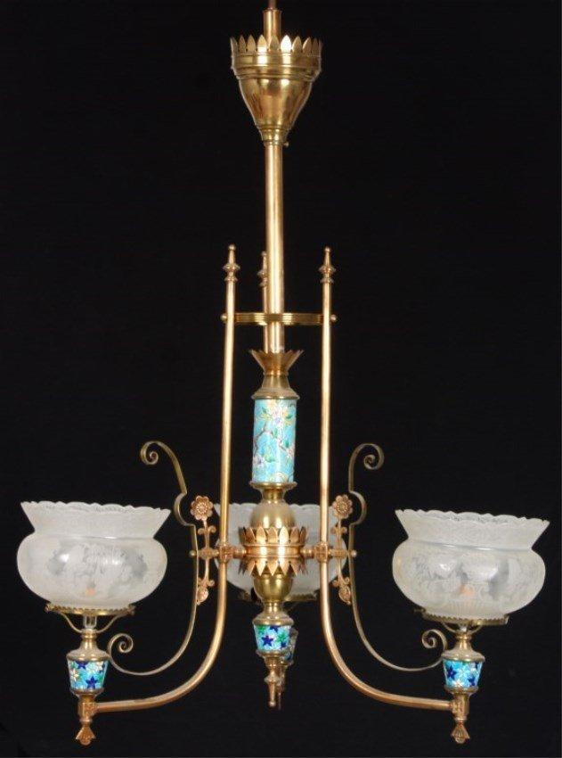 3 Arm Longwy & Brass Aesthetic Chandelier