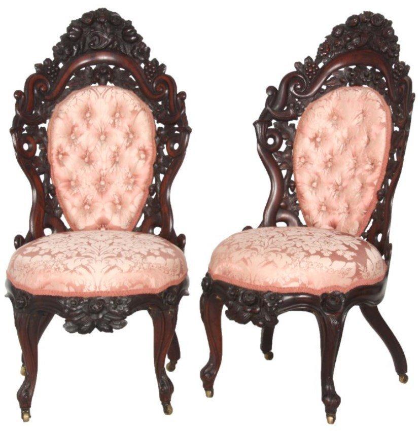Pr. J.H. Belter Laminated Rosewood Sidechairs