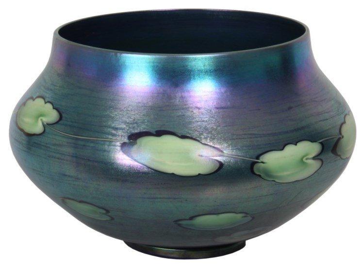 Lg. Tiffany Blue Iridescent Leaf & Vine Vase