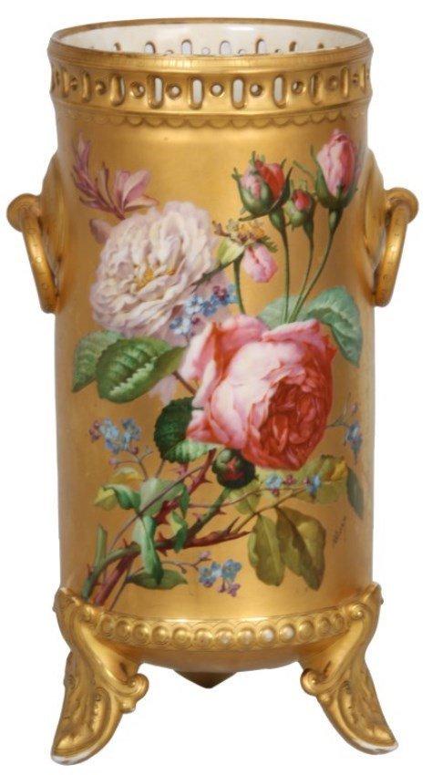 Signed N. Vivien Rose Decorated Vase