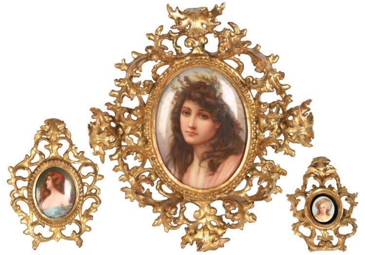 3 Framed Oval Porcelain Portrait Plaques