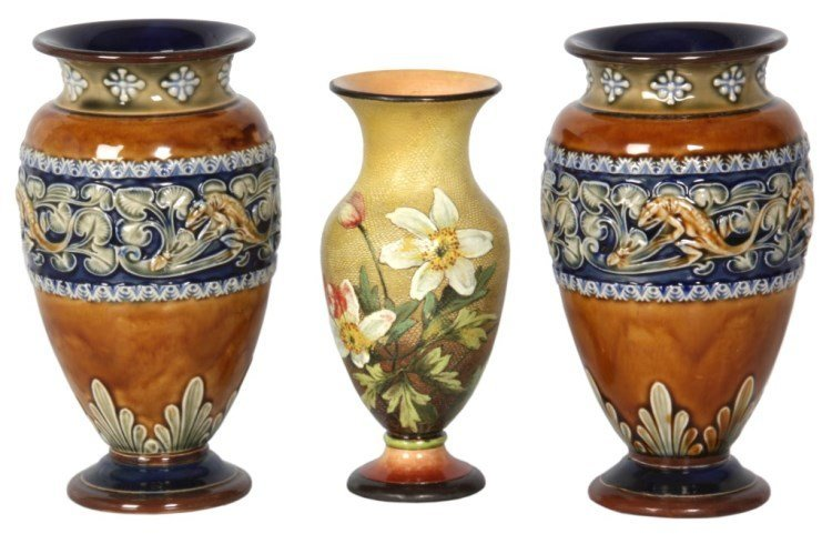 3 Pc. Doulton Lambeth Vases