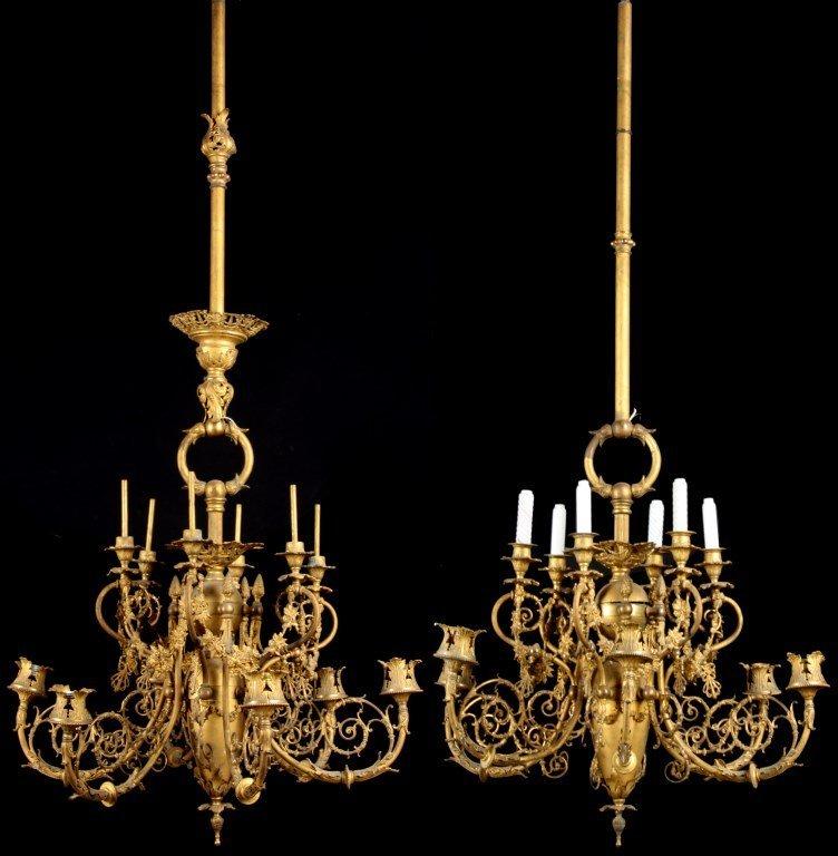 2 Brass 12 Light Chandeliers
