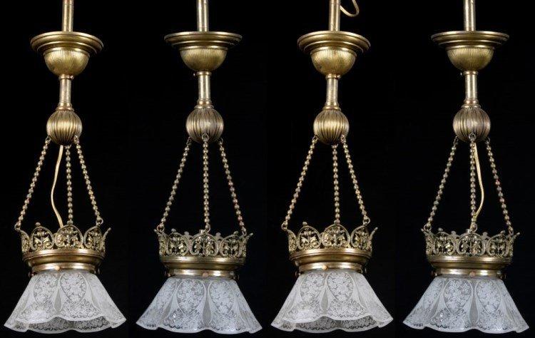 Set of 4 Single Hanging Lamps