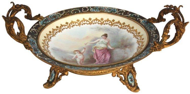 Sevres Porcelain, Brass & Enamel Charger