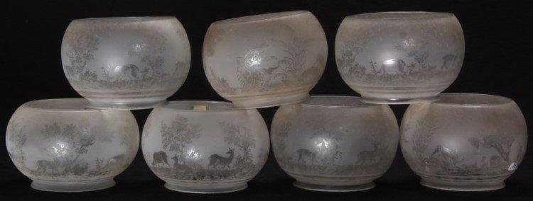 7 Scenic Acid Etched Globes w/ Deer