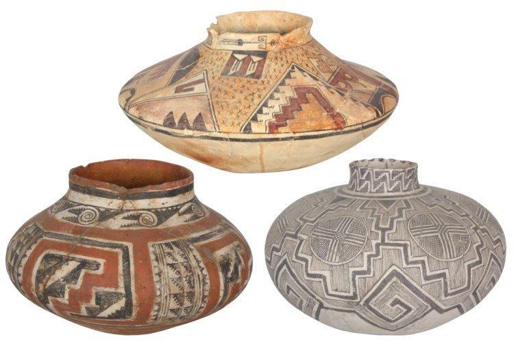3 Native American Pottery Vessels