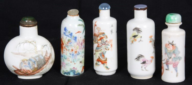 5 Chinese Porcelain Snuff Bottles