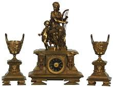 3 Pc French Figural Bronze Clock Set