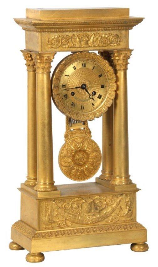 French Empire Bronze Portico Clock