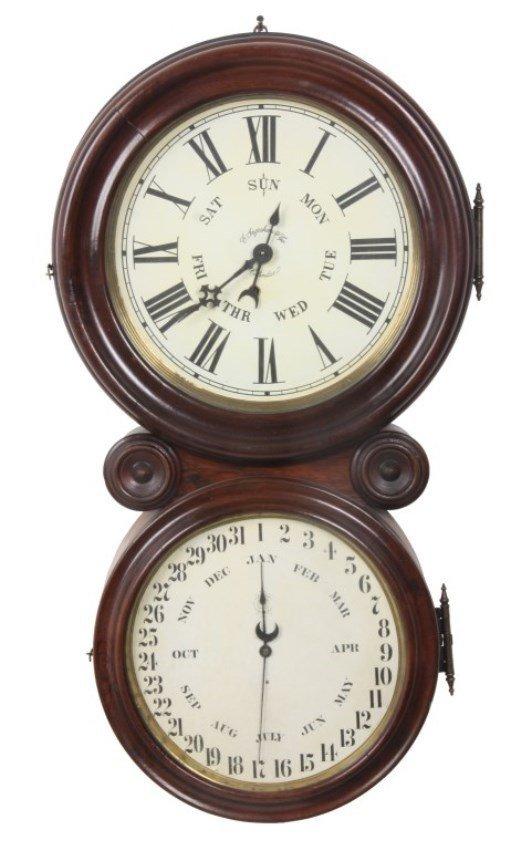 "Ingraham ""Ionic"" Double Dial Calendar Clock"