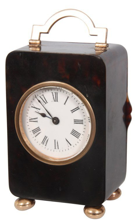 Tortoise Shell & Gold Mounted Carriage Clock