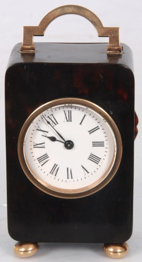 Tortoise Shell & Gold Mounted Carriage Clock - 2