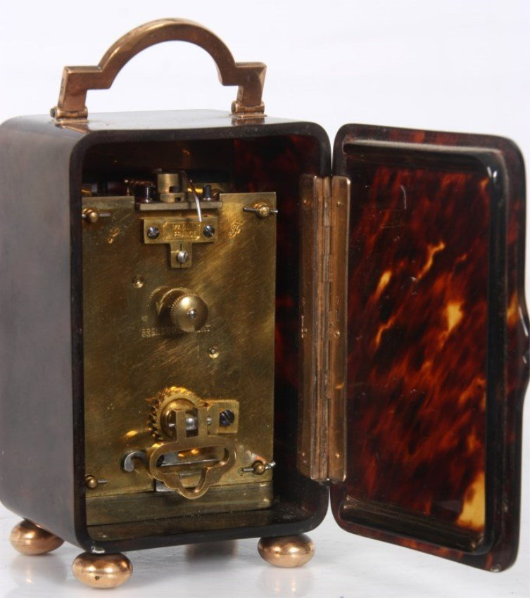 Tortoise Shell & Gold Mounted Carriage Clock - 6