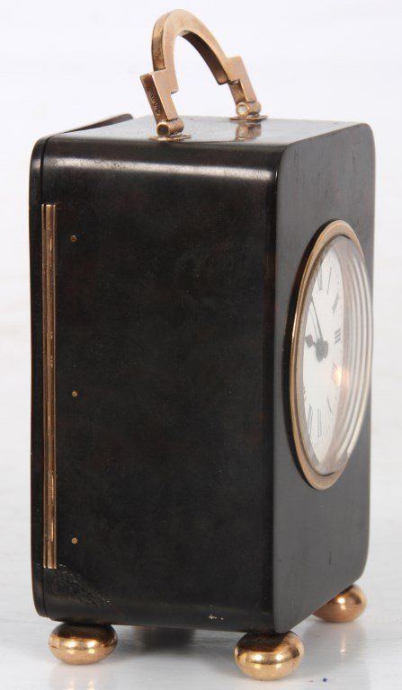 Tortoise Shell & Gold Mounted Carriage Clock - 8