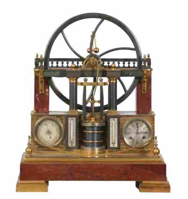 French Industrial Animated Steam Engine