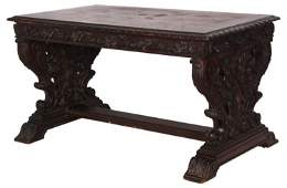 Carved Mahogany 1 Dwr Library Table