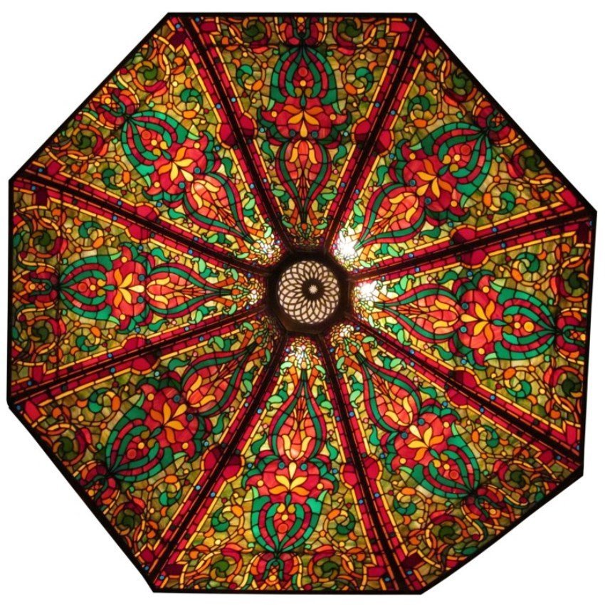 Lg. 7 Ft. Leaded Glass 8 Panel Ceiling Dome