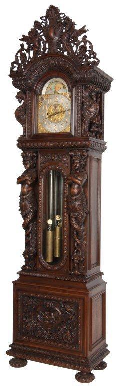 R.J. Horner Oak 9 Tube Grandfather Clock