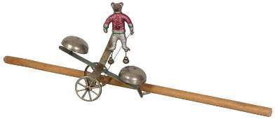 Watrous Teddy Bear Double Bell Toy