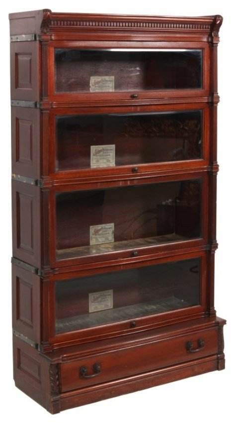 Carved Mahogany Ideal Staking Bookcase