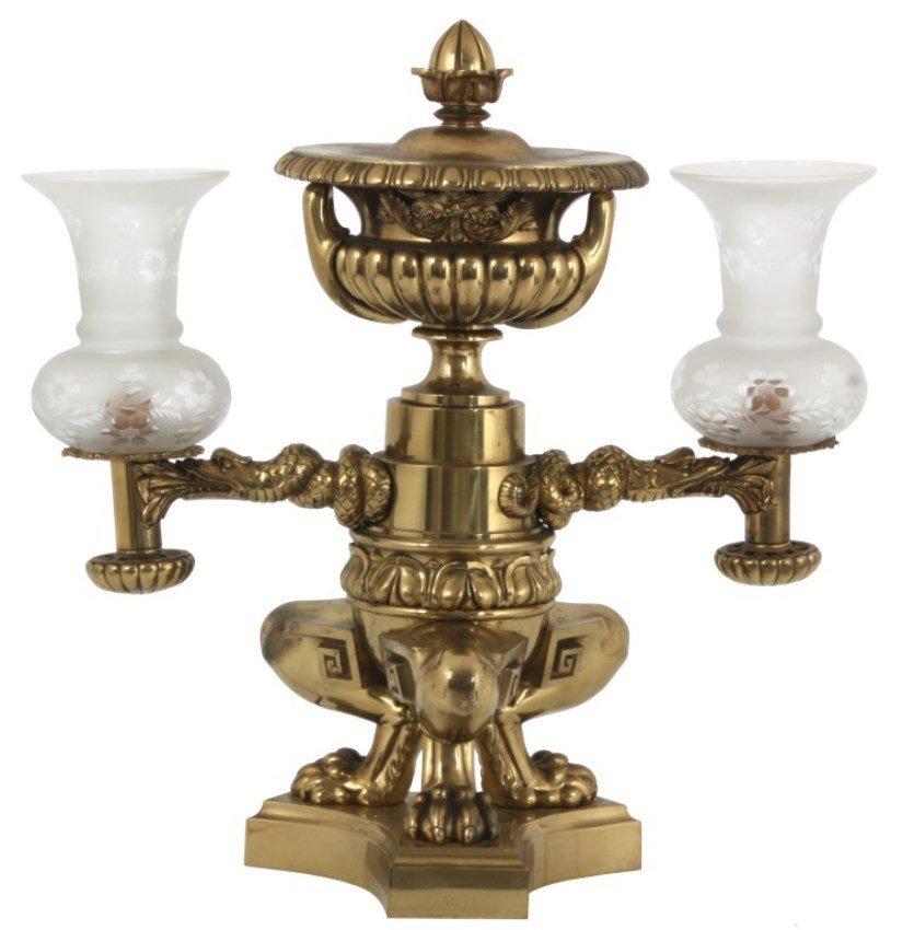 Gilt Brass Double Argand Lamp