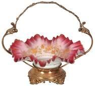 Victorian Enamel Decorated Brides Basket