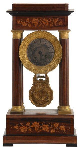 Inlaid Rosewood Portico Mantle Clock