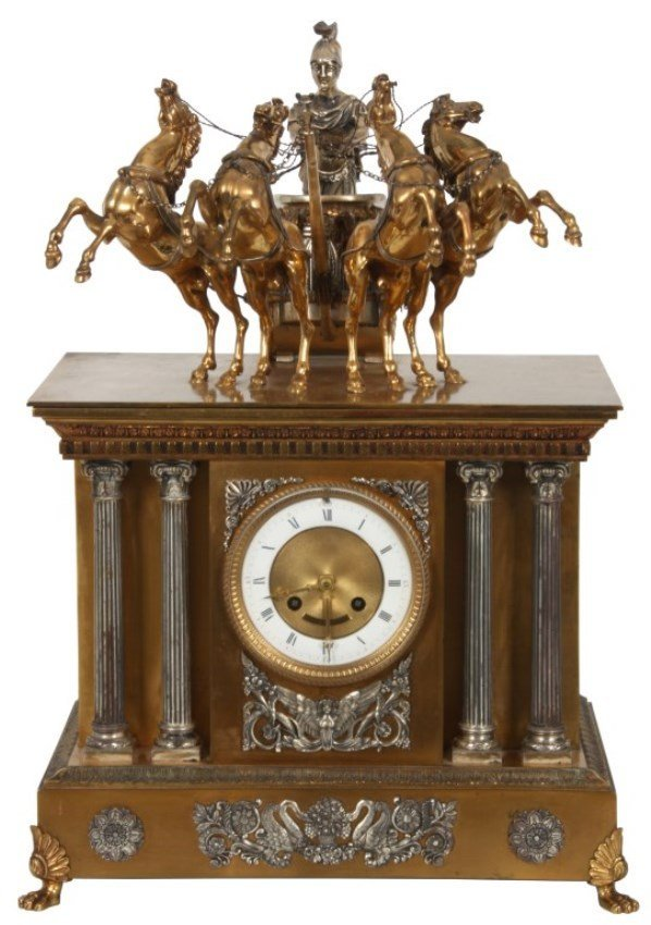 Large French Bronze Chariot Clock
