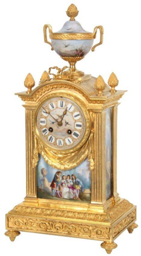 Gilt Bronze Mantle Clock w/ Porcelain Inserts