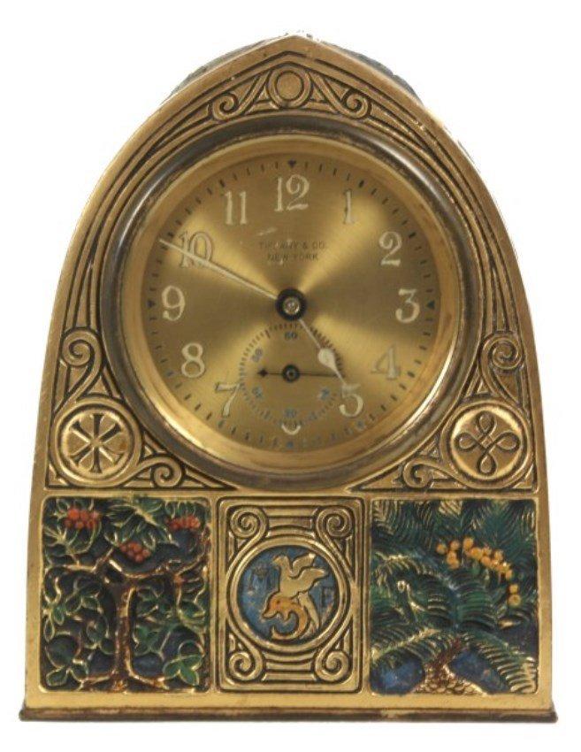 Tiffany Studios Bookmark Pattern Desk Clock