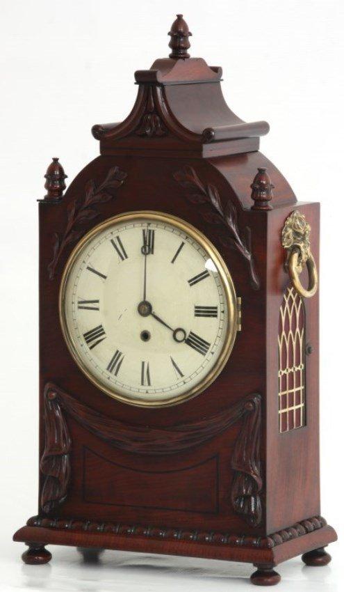 Carved Mahogany Fusee Bracket Clock