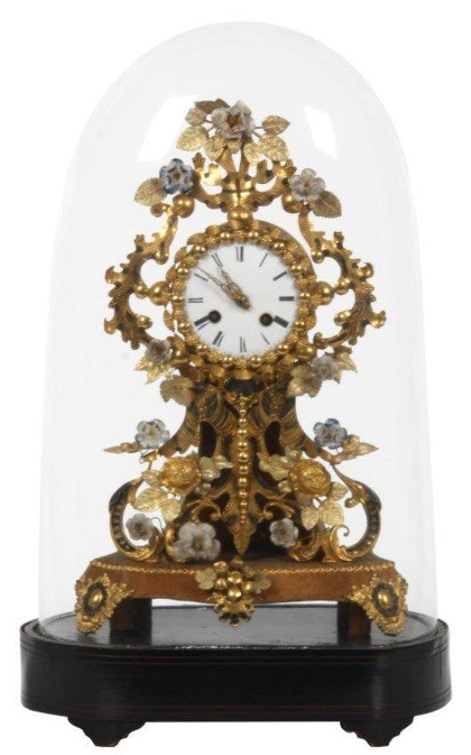 Brass & Porcelain Mantle Clock w/ Dome