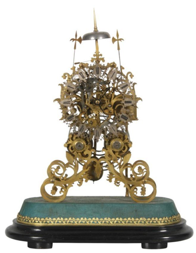 19th C. Brass Double Fusee Skeleton Clock