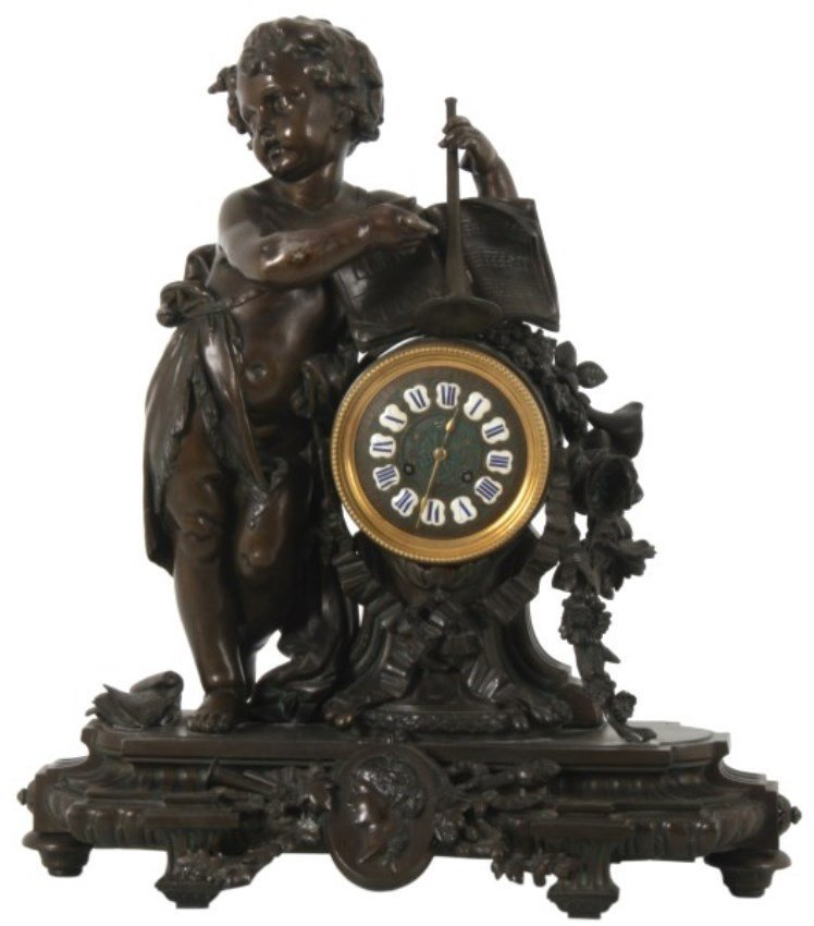 Lg. French Figural Mantle Clock