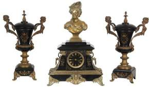 3 Pc Marble  Bronze Figural Clock Set