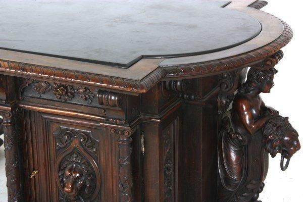 Monumental Walnut Marble Top Desk & Chair - 5