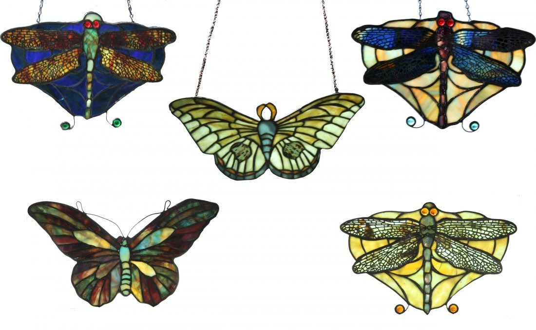 5 Insect Window Pendants (2 Tiffany Studios)