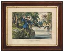 Currier  Ives Hand Colored Engraving