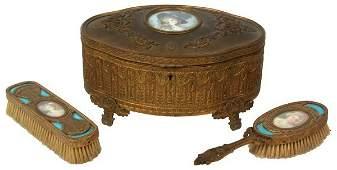 3 Pc Brass  Enamel Dresser Set w Ivory Portrait