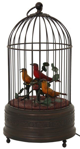 3 Bird Animated Singing Bird Cage