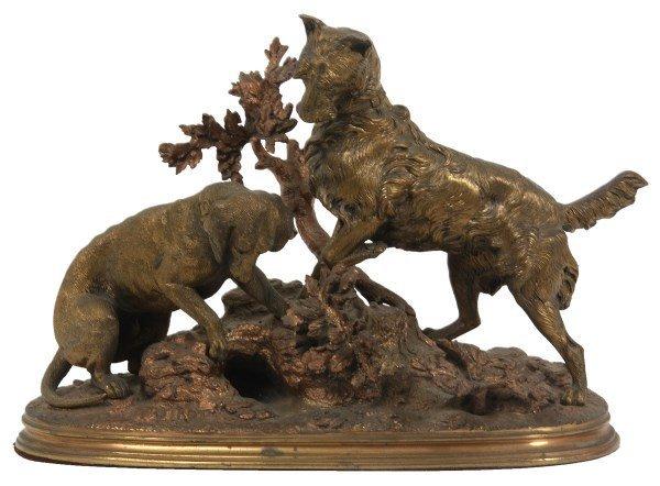 F. Pautrot Bronze Sculpture - Hunting Dogs