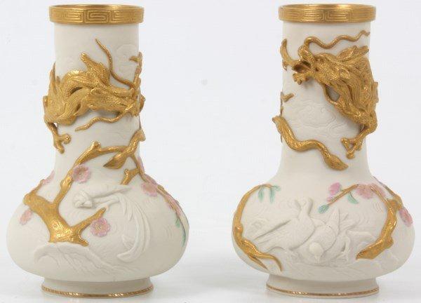 Copeland Parian Ware Dragon Vases